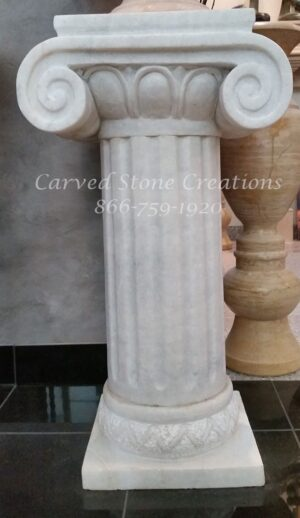 Fluted Ionic White Marble Pedestal, 30""
