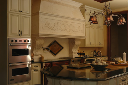 Detailed stone kitchen hood