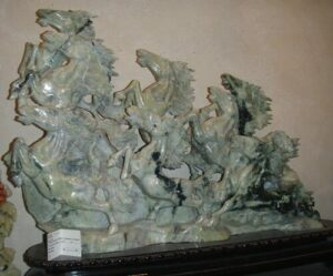 Jade Carving Med Running Horses Light Green