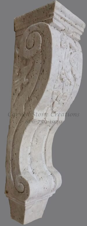 Medium Floral Design Corbel, 6x6xH19.5, Tuscany Classic Travertine
