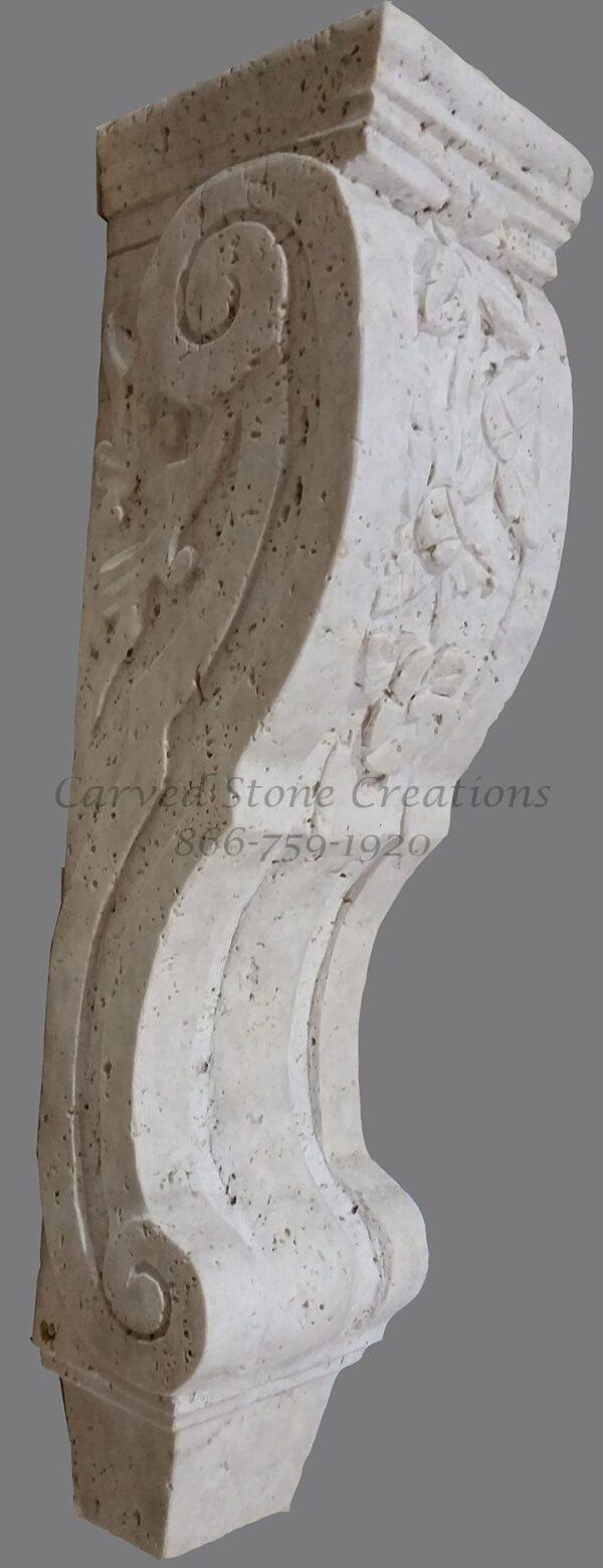 Medium Floral Design Corbel, 6x6xH19.5, Tuscany Classic Travertine
