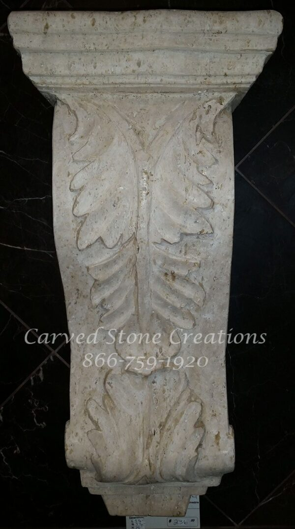 Medium Acanthus Corbel, 5.5x9.5xH20, Tuscany Classic Travertine