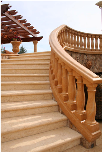 Limestone Stair Treads and Curved Balustrade