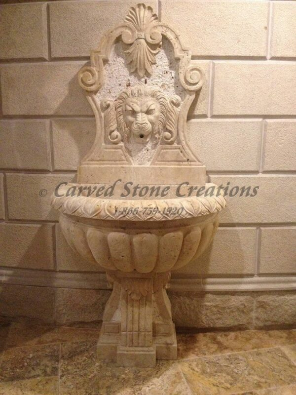 "Lion Wall Fountain With Scrolled Pedestal, H72"" x W36"", Light Oriental Travertine"