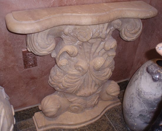 Light Oriental Travertine Acanthus Hall Table