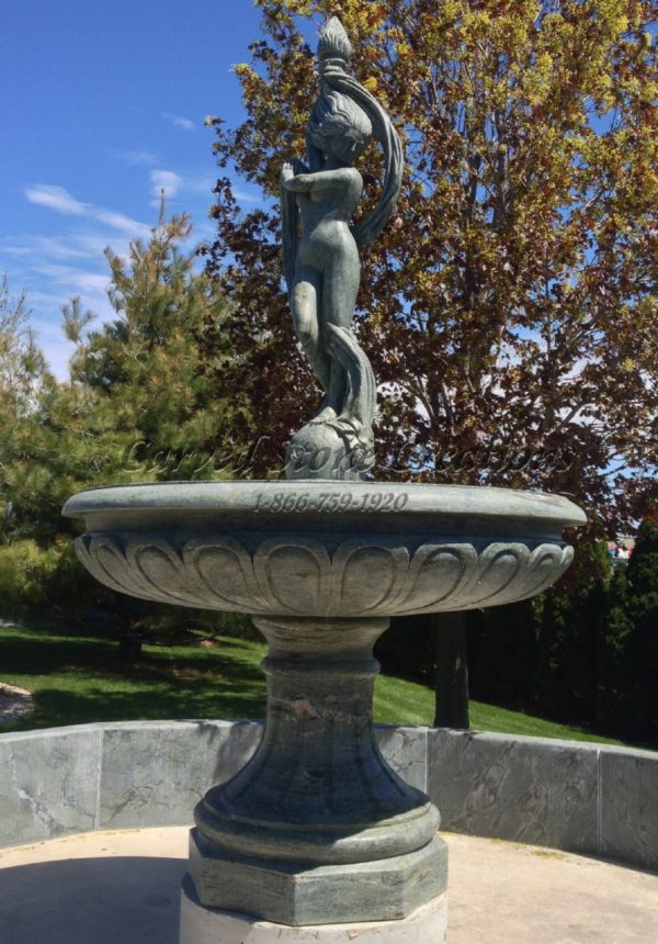 "Dancing Woman with Ribbon and Torch, D72"" x H126"", Marble Pedestal Fountain"