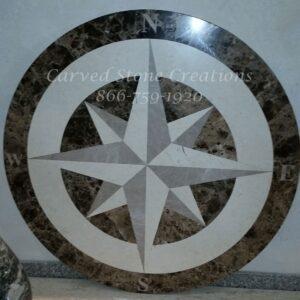D36x3/4 Polished Marble Compass Medallion Dark Emperador Lt Emperador Jerusalem Bone.