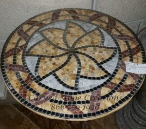 D24″ Mosaic with Marble & Stainless Steel. Beige Venato Rojo Alicante Pacific Pewter.