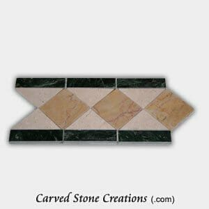 Dark Green/Beige Marble Polished Diamond Pattern Border