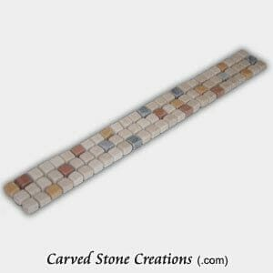Multi-Marble Tumbled 3x1cm Lt Spot Mosaic Border Strip