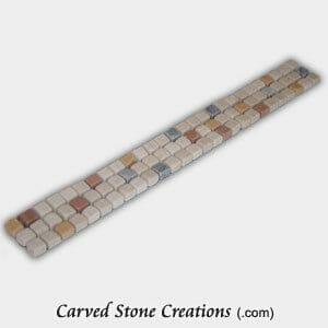 Multi-Marble Tumbled 3x1cm Lt Spot Mosaic Border Strip