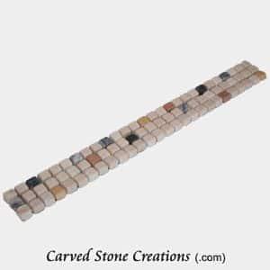 Multi-Marble Tumbled 3x1cm Dk Spot Mosaic Border Strip