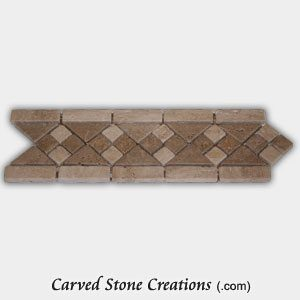 Noce/Tuscany Classic Travertine 4-Part Diamond Mosaic Border