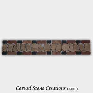 Rustic Noce/Rojo/Nero Tumbled Stone Chip Border