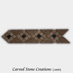 Noce/Tuscany Classic Travertine Tumbled 9-Part Mosaic Diamond Border