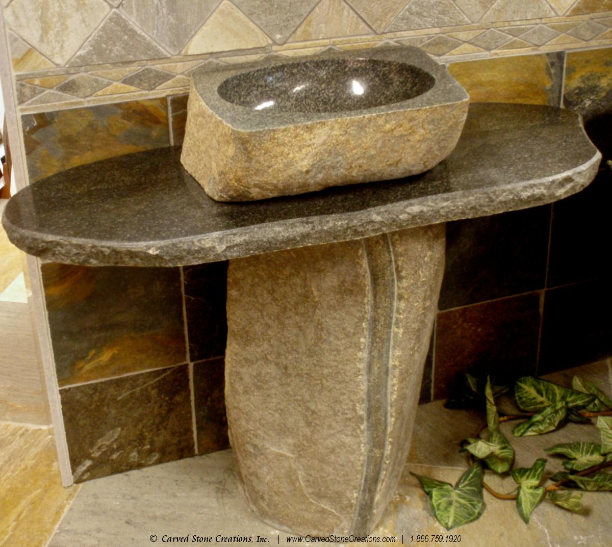 natural boulder pedestal sink