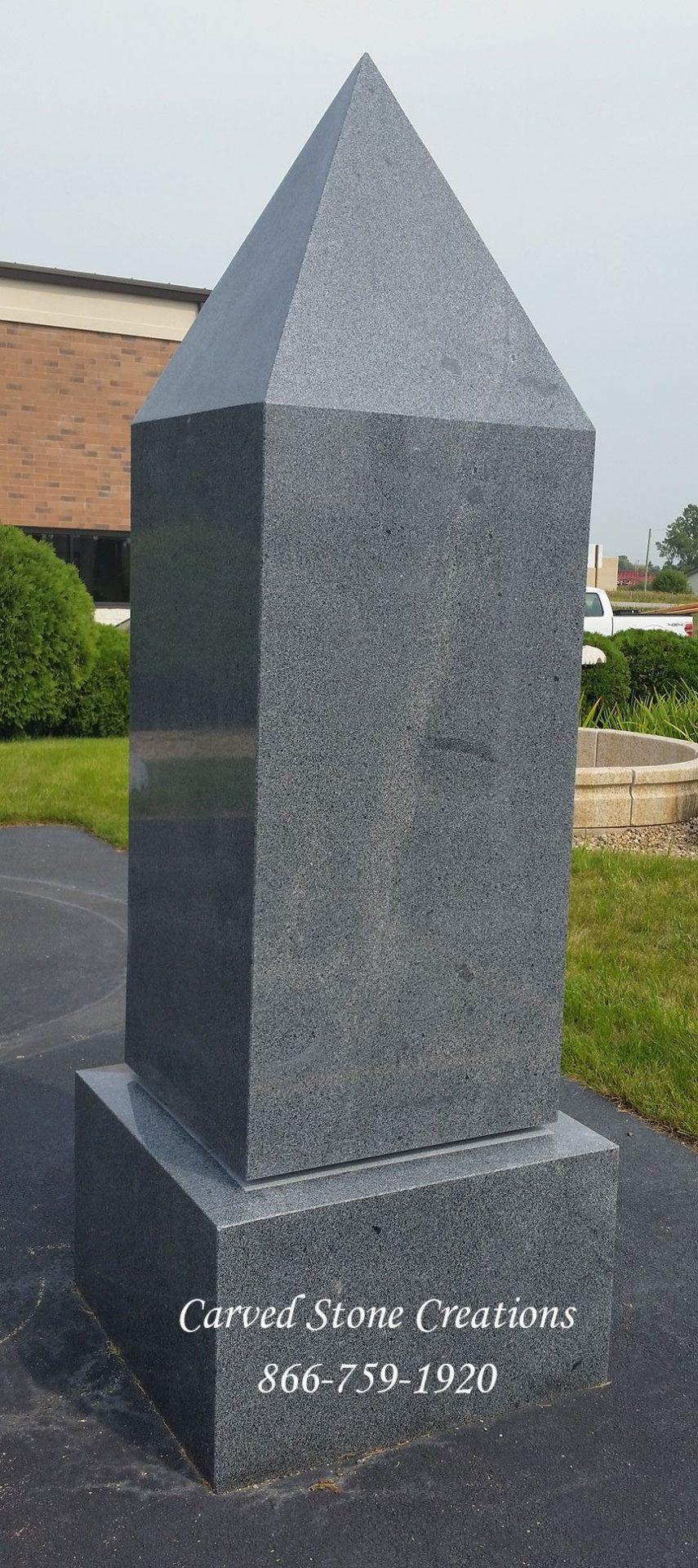 Obelisk Monument Polished Charcoal Grey Granite Csc