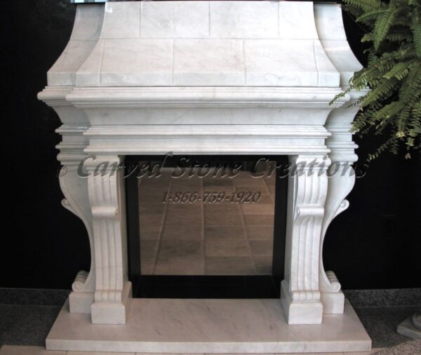 Victorian Overmantel Fireplace with Hearth in Bianco Puro Marble