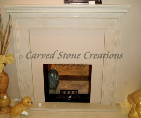 Beige Limestone Honed Square Surround with Hearth