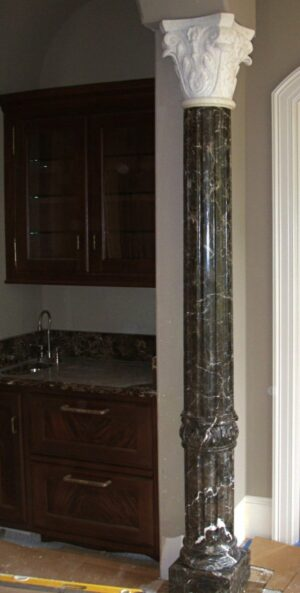 Custom Moroccan Brown 1/2 Marble Column. Jerusalem Bone Corinthian Capital