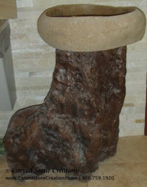 Driftwood Pedestal with Polished Natural Boulder Sink