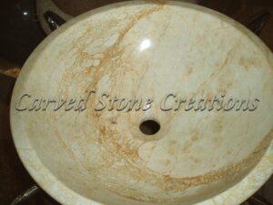 Beige Venato Marble Polished Unrimmed Vessel Sink