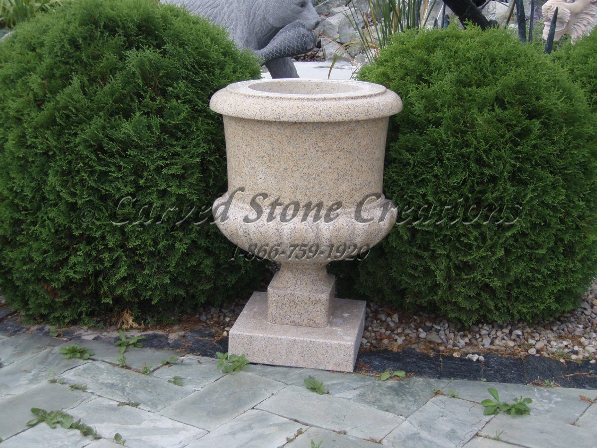 Simple granite urn planter d carved stone creations