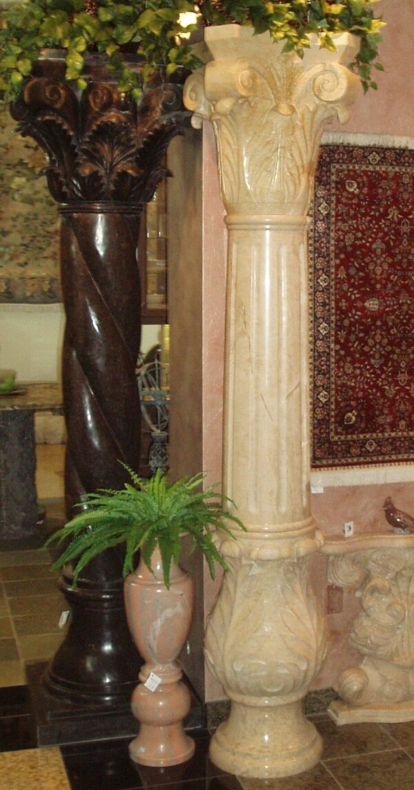 Beige Venato Marble Corinthian Fluted Column with Base, 8-FT