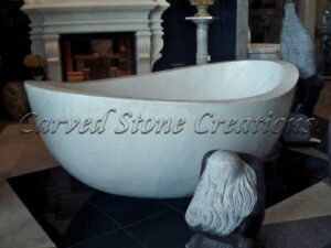Contoured Top Oval Carved Marble Bath Tub