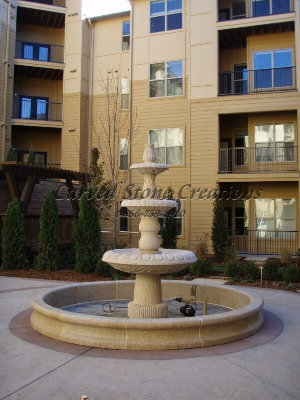 10' Round Contour Fountain Pool Surround, Giallo Fantasia Y