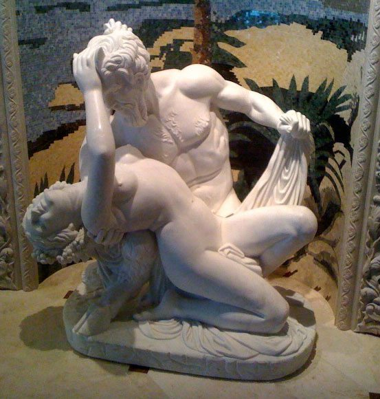 Pan and Syrinx Classical Statue, Honed Bianco Puro