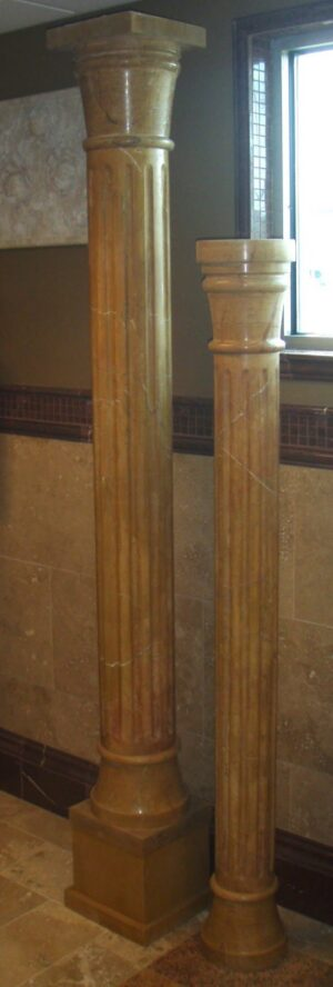 """Vivid Saffron Polished Marble Fluted Columns, 7' 10"""""""