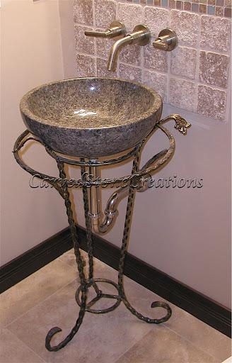 Stone pedestal sink stand