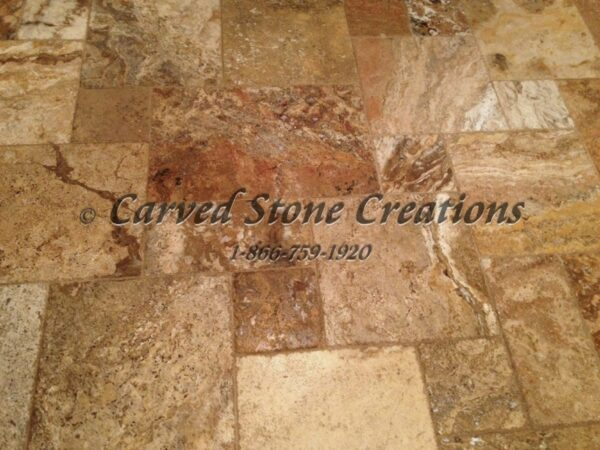 "24"" x 96"" x 2"" Scabos Travertine Slab, Honed/Unfilled Finish"