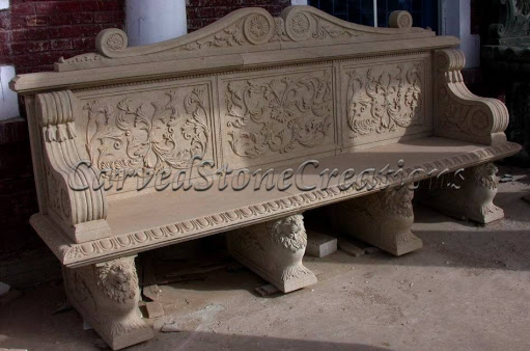 Stone Bench With Backrest