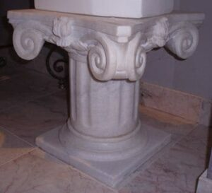 White Marble Short Ionic Pedestal