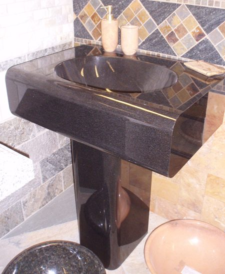 Simplicity Absolute Black Pedestal Sink Carved Stone