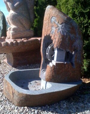 3FT Natural Boulder Water Wheel Fountain