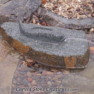 Single Koi Spitting Boulder Fountain 12x24xH10 Natural Rock