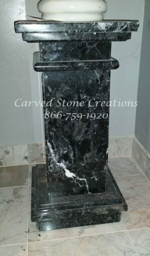Polished Square Nero Marquina Fluted Marble Pedestal
