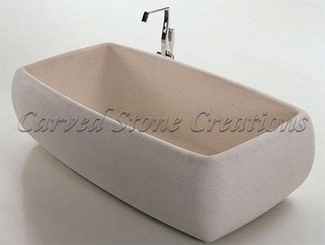 Square stone bathtub
