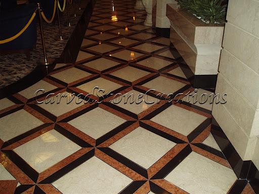 Stone tile flooring