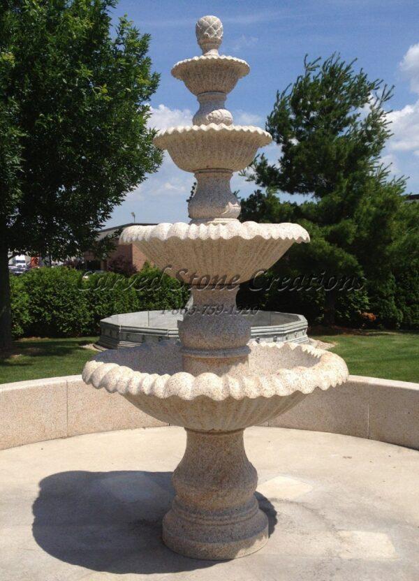 """4-Tier Fountain, D54"""" x H108"""", Giallo Fantasia Y Granite"""