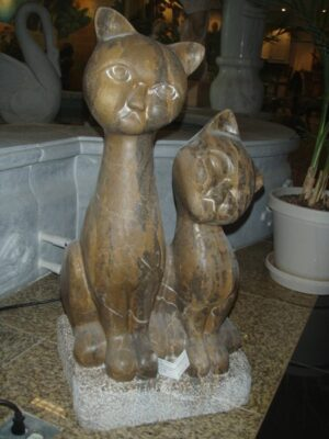 Large Carved Marble Cats, Coffee Brown