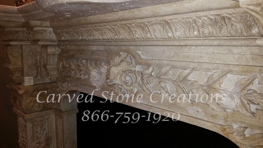 Travertine stone fireplace mantel