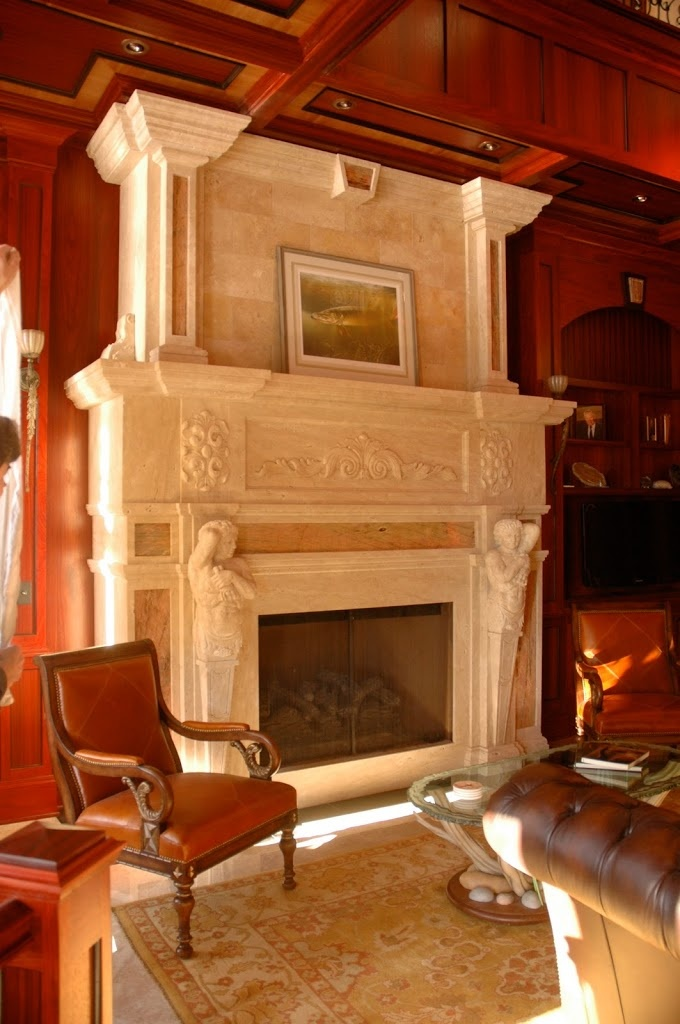 Travertine fireplace design