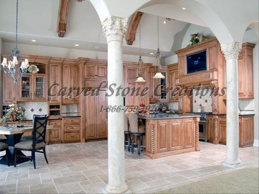 Stone kitchen columns and floor tile