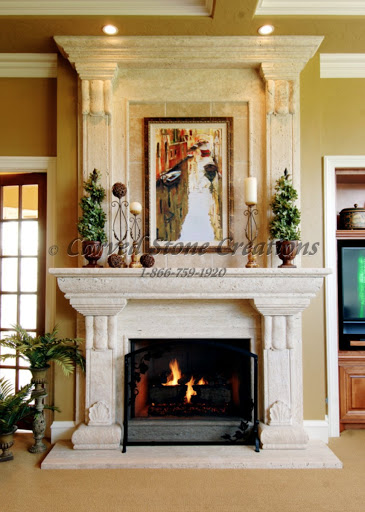 Carved Travertine Fireplace