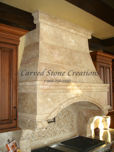 Travertine kitchen hood
