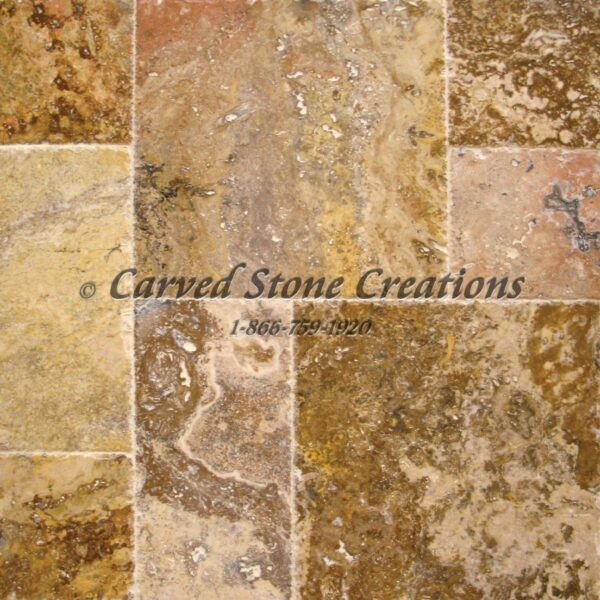 Scabos Travertine Palatial Versailles Pattern Honed Unfilled Brushed Chipped Tile